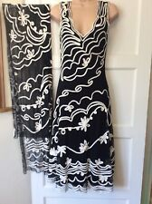 phase eight 10 Evening Dress Black Cream & Scarf party Wedding Cruise Occasion