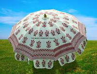 Garden Beach Umbrella Indian Outdoor Block Print Cotton Patio Sun Parasol Large