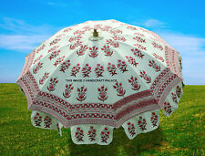 Garden Beach Umbrella Indian Outdoor Block Print Cotton Patio Sun Parasol Large