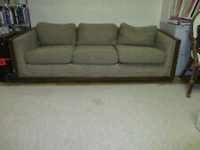 New listing Mid Century Vintage Couch Sofa Pull Out Queen Bed Tweed Brown Wood