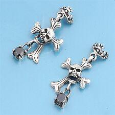 Skull & Bone Cross Earrings Silver 925 Halloween Style Oxidized Jewelry Gift