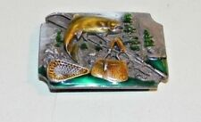 Vintage 1989 Siskiyou  Fish Fishing Gear Brass Enamel Metal Belt Buckle C-83 EC