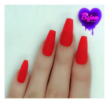 20 Set Matte Red Neon Hand Painted Press On Fake False Nails Glue Glitter Bright