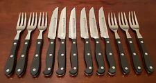 WMF SPITZENKLASSE ROSTFREI INOX 9596/12 cm Germany 6 Sets Steak Knives & Forks