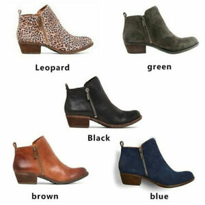 Women's Chunky Heels Ankle Boots Round Toe Retro Simple Daily Party Shoes US10.5