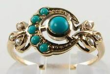 9CT 9K YELLOW GOLD TURQUOISE & SEED PEARL SUN & MOON RING FREE RESIZE