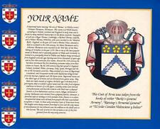 """HERITAGE COAT OF ARMS & YOUR FAMILY SURNAME HISTORY PRINT 10"""" x 8"""""""