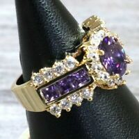 Handmade Purple Amethyst Ring Women Jewelry 14K Gold Plated Size 6 7 8 9 Unique