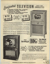 "1949 PAPER AD Imperial TV Television DeWalt 12"" 16"" Console"
