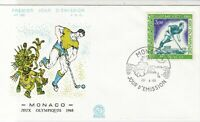 Monaco 1968 Olympic Games Hockey Picture Slogan Cancel FDC Stamp Cover Ref 26383