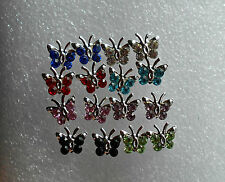 Crystal Butterfly Studs Earrings Silver Plated in 8 Different Colours Stoppers Aqua Blue