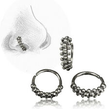 TRIBAL 20G ORNATE STERLING SILVER NOSE RING 7MM RING NOSE EAR STUD HELIX