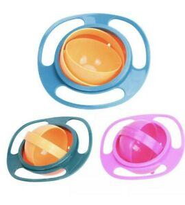 2 X Baby Infants Kids Feeding Bowl Magic 360° Rotating Gyro Toddler Non No Spill