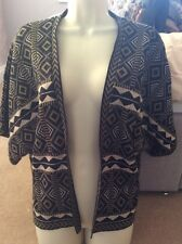 ladies l large 14 16 cardigan Top Jacket Green Black atmosphere bolero Aztec