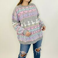 Vintage Rainbow Hearts Floral Duck Kawaii Keii Jumper Sweater L/XL Womens