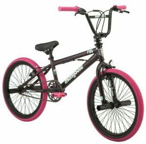 Mongoose FSG BMX 20 inch FSG BMX Girls/Kids Bike - Black/Pink ✅