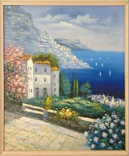 Fine Art Oil Painting FRENCH RIVIERA Azure Waters GARDEN VILLA Framed