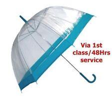 Parapluie Dôme Transparent avec Couleur Bleue Bordure, Poignée & Casquette