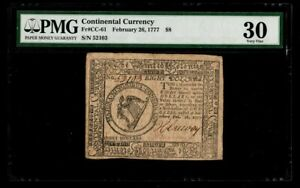 February 26 1777 PMG Very Fine 30 Continental Currency $8 FR#CC-61