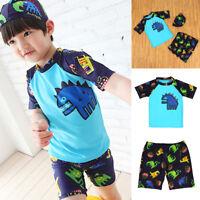 3-8Y 3PCS Child Boy Swimsuit Swimming Set Kids Baby Bathing Swimwear Beach Wear