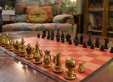 SOLID BRASS COURIER CHESS SET & VINYL MAT, from VAN LEYDEN'S PAINTING (M04)