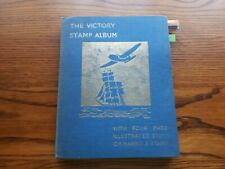 OLD VICTORY STAMP ALBUM:   WORLD COLLECTION - 1150 USED STAMPS.