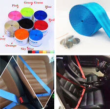 Sky Blue Sport Car Safety Belt Kit Front 3 Point Retractable Vehicle Seat Belt