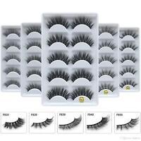 NEW 5 Pair 3D Mink False Eyelashes Fake Wispy Long Thick Cross Eye Lashes Soft