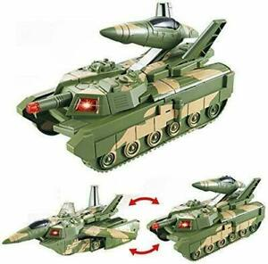 Military tank 2 in 1 Aircraft and Tanks with Flash light Sound toy Bump and Go-D