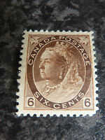 CANADA POSTAGE STAMP SG159 SIX CENTS 1898 BROWN LIGHTLY-MOUNTED MINT