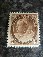 CANADA POSTAGE STAMP SG159 SIX CENTS 1898 BROWN LIGHTLY MOUNTED MINT