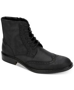 Calvin Klein Mens Cronus Patent Leather Boots, BLACK, Size 10.0 R0Rr