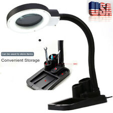 Tabletop Gooseneck Magnifying Lamp Magnifier 5X 10X Desk Adjustable Light Night