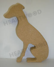 Whippet dog sitting in MDF (150mm x 18mm thick)/Wooden craft shape