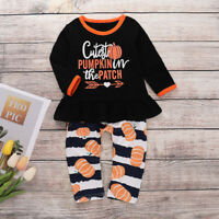 2Pcs Toddler Kids Baby Girl Pumpkin Tops Shirt Dress Pants Outfits Halloween Set