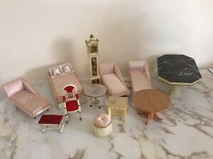 VTG  DOLL HOUSE FURNITURE MIXED LOT IDEAL PETITE PRINCESS CHAISE BED CLOCK 12 pc
