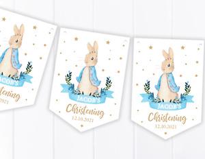 Personalised Peter Rabbit Bunting - Christening / Baptism / Baby Shower