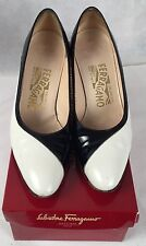 Vintage Salvatore Ferragamo Black and White Patent Leather Designer Shoes Heels