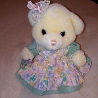 """VTG Main Joy Teddy Bear Lady Plush Stuffed Animal Fancy Floral Dress 10"""""""