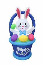 4 Foot Tall Air Blown Inflatable Bunny in Basket with Easter Egg Yard Decoration