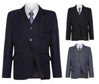 Boys Amazing 5 Piece Value Dark Navy ,Grey ,Black, Pinstripe Suit 1 to 12 years