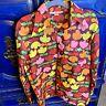 Vintage SKYR Mod Hippy Flowers Psychedelic Nylon Rain Shirt Men's Medium 60s 70s