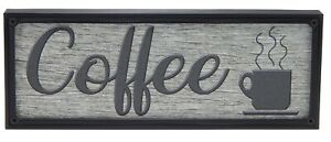 Coffee Word Art Sign Kitchen Home Decor Wall Hanging Cursive Script Typography