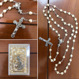 Communion Heart Shape Cream Pearl ROSARY BEADS With Chalice Centrepiece Boxed