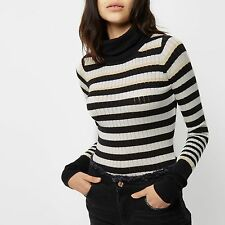 NEW River Island Roll Neck Ribbed Sweater Top Jumper Striped Green Black White