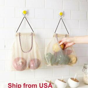 2pcs Reusable Hanging Storage Mesh Bag For Vegetable Fruit Garlic Potato Onion