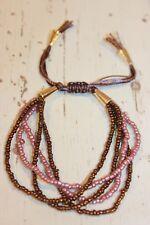 Armband NEU Armkette silber braun rosa Nickel Frei Ethno Hippie trendy Perlen