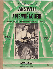 SLIM DUSTY - ANSWER TO A PUB WITH NO BEER 1958 Sheet Music