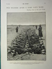 1900 VICTORIAN BOER WAR PRINT ~ SOLDIERS SLEEPING OUT ON THE COLD VELDT
