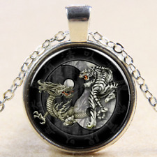 Dragon tiger gray yin yang  Cabochon Glass Tibet Silver Chain Pendant Necklace